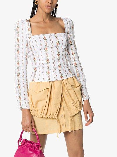 Fillmore floral print linen blouse