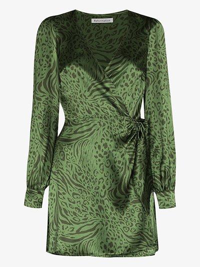 Kenna leopard print silk mini dress