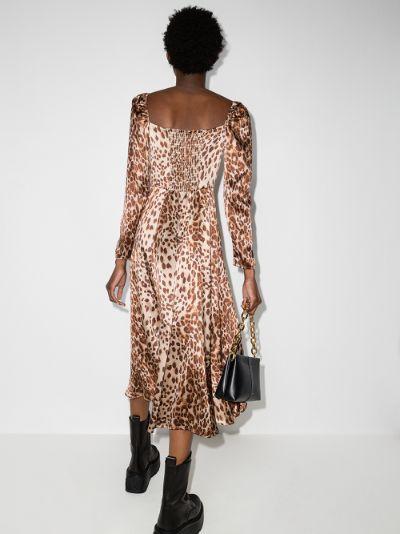 Maryanne leopard print silk midi dress