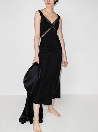 Provence lace silk midi dress