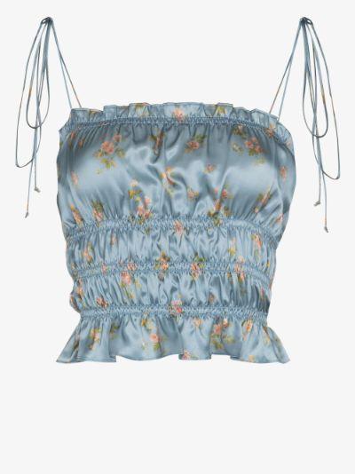 Viviana floral print silk top