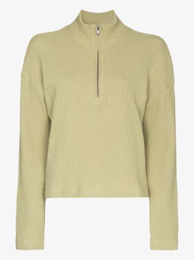 Yale zip-up waffle sweater