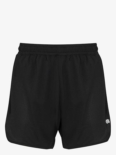 logo print mesh running shorts