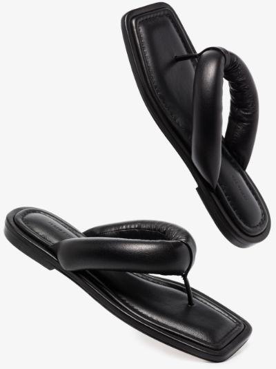 Black Nella Padded Leather Sandals