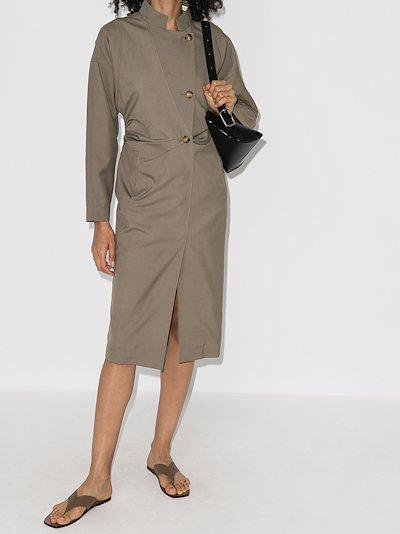 Lea asymmetric button midi dress