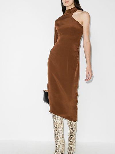 Ola asymmetric silk midi dress