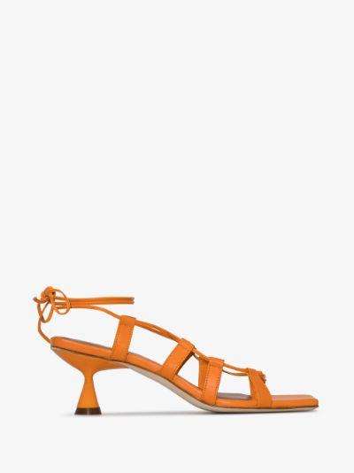 Orange Malia 60 Caged Leather Sandals