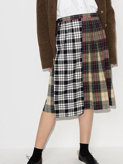 contrast tartan pleated skirt