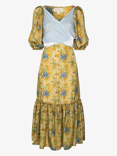 floral contrast tie silk dress