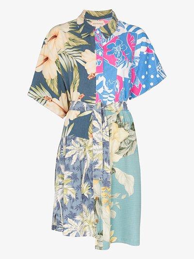 Hawaiian print belted cotton dress