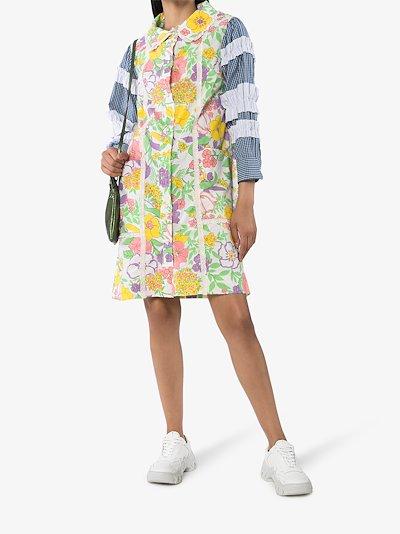 Ruffled floral print house dress