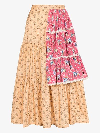 Tiered patchwork prairie skirt