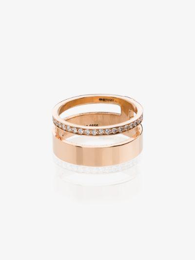 18K rose gold Berbere Module diamond double ring