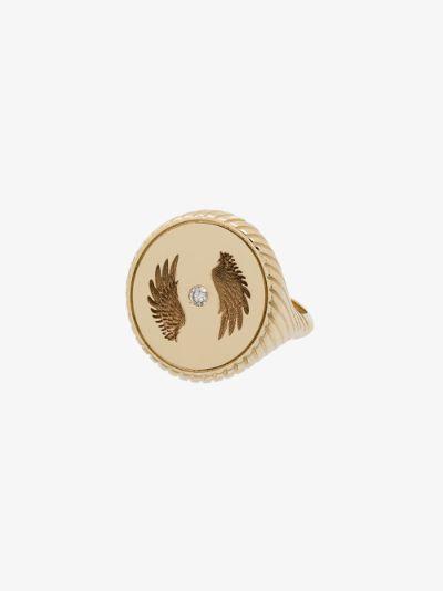 14K yellow gold Alchemy Bravery diamond signet ring