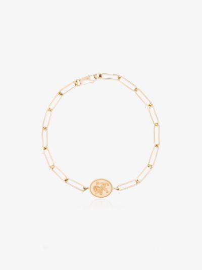 14K yellow gold lion signet bracelet