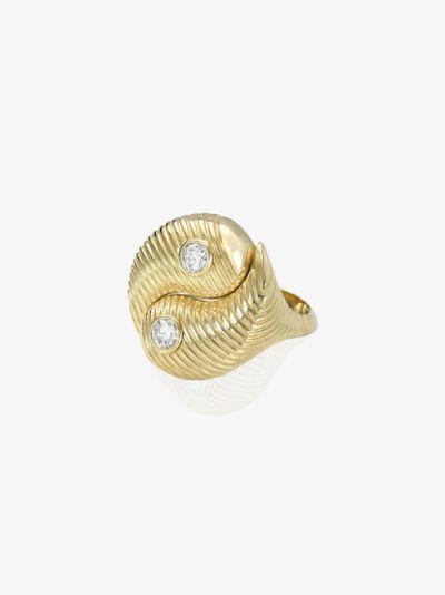 14K yellow gold Yin Yang diamond ring