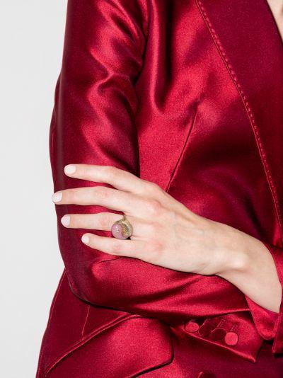 14K yellow gold yin yang opal diamond ring