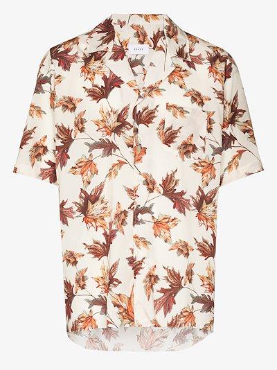 leaves print Bowling shirt