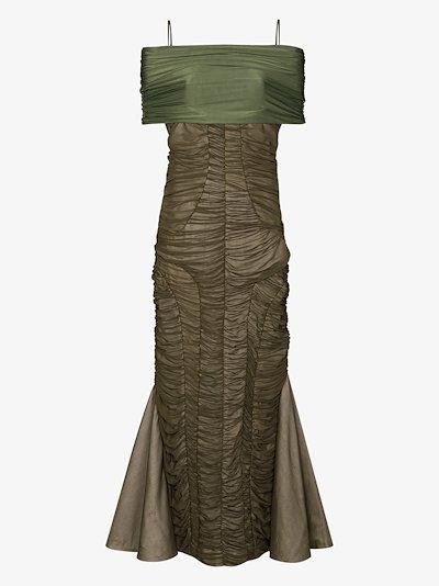 off-the-shoulder ruched midi dress