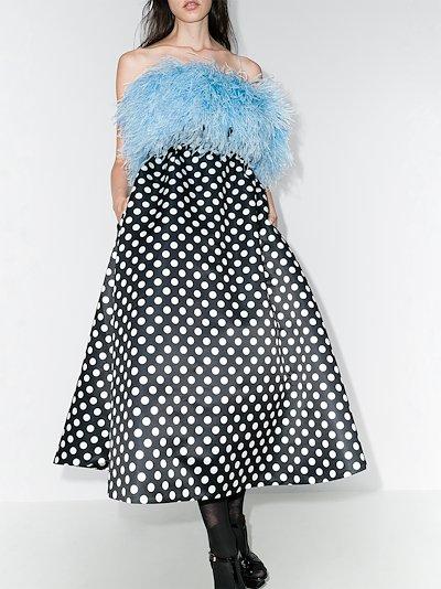 feather bodice polka dot dress