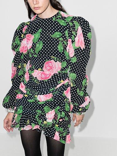 floral polka dot silk mini dress
