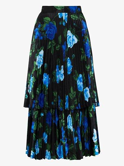 high waist floral pleated silk skirt