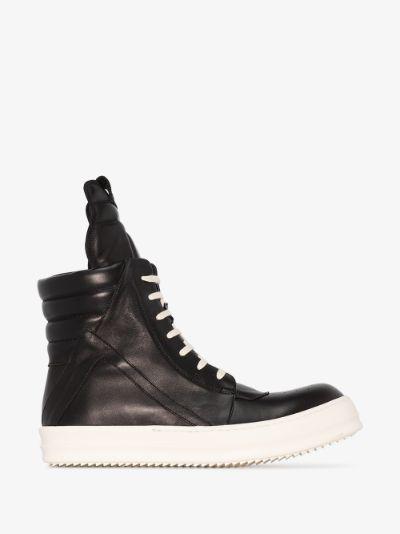 Black Geobasket Leather Sneakers