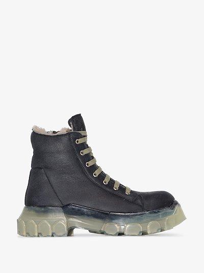 black Mega Bozo shearling trim leather boots
