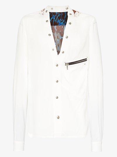 Collarless graphic print shirt
