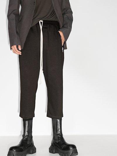 cropped drawstring cotton track pants