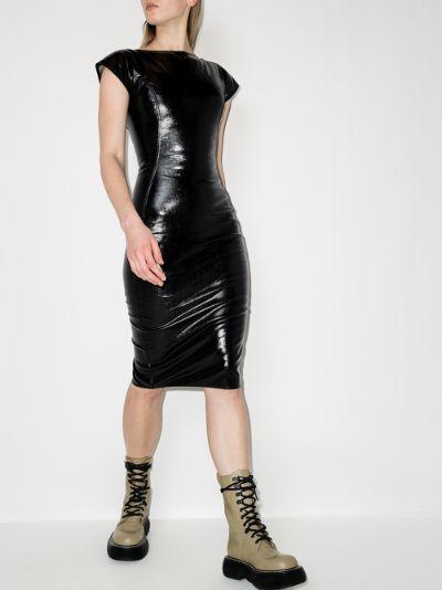 Easy Sarah lacquered denim midi dress