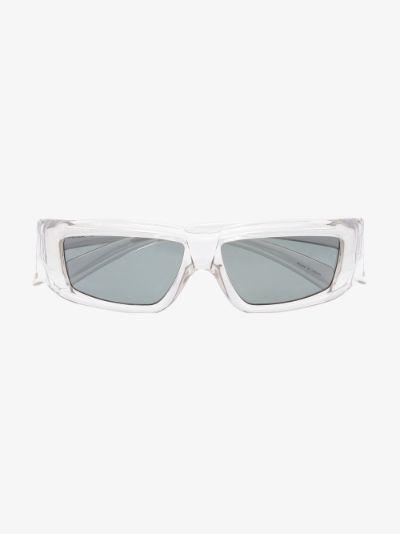 Grey clear frame rectangular sunglasses