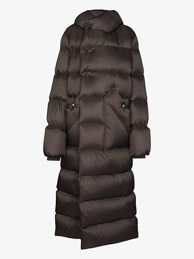 hooded maxi puffer coat