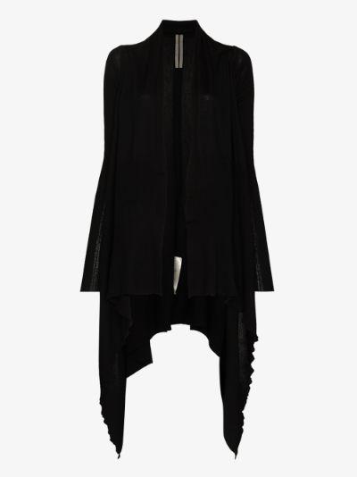 long asymmetric virgin wool cardigan