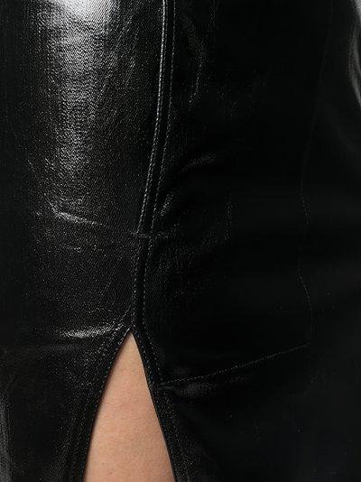 Sacrimini side slit faux leather midi skirt