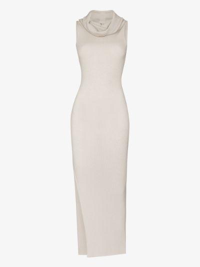 sleeveless wool knit maxi dress