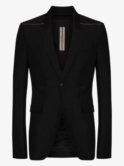 stitch detail single-breasted blazer