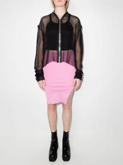 zip-through chiffon jacket