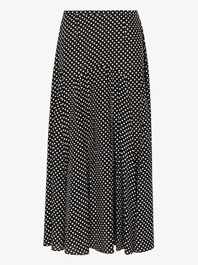 Claire polka dot pleated midi skirt