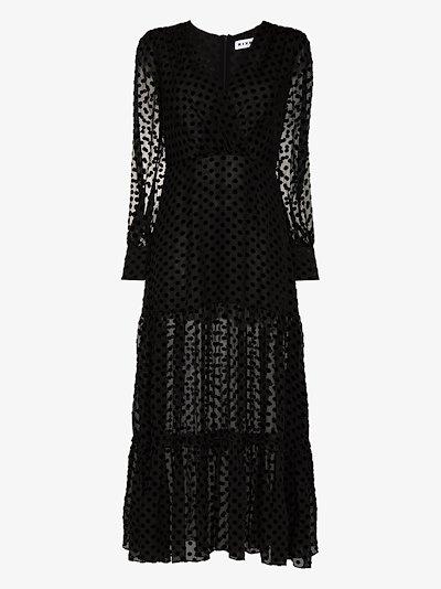 Elsie sheer spot midi dress