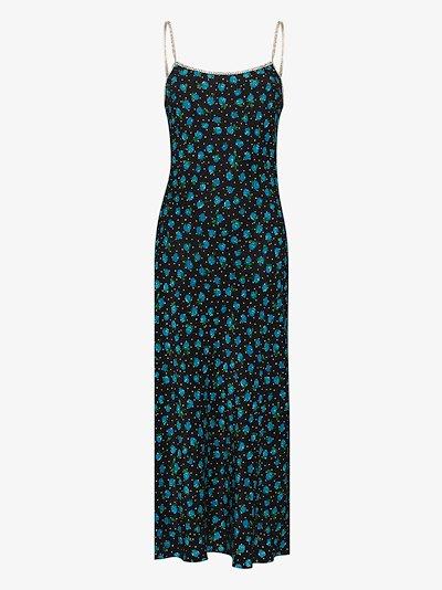 Holly crystal strap silk slip dress