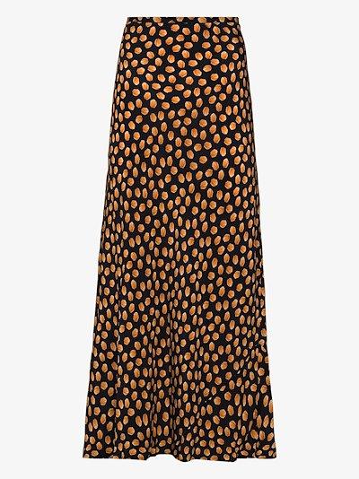 Kelly printed silk midi skirt