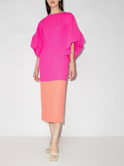 Garance two tone pouf sleeve dress