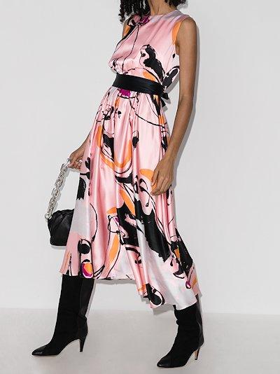tibi dance print silk midi dress