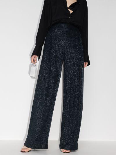 Brunswick metallic wide leg trousers
