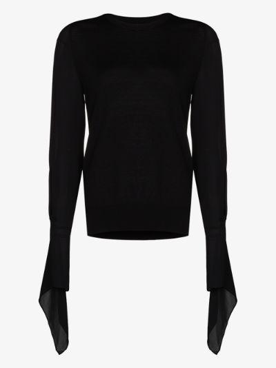 Moston fluted sleeve sweater