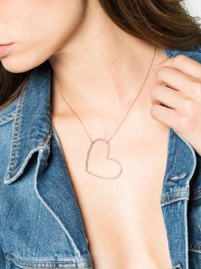 18K Rose gold large heart diamond necklace