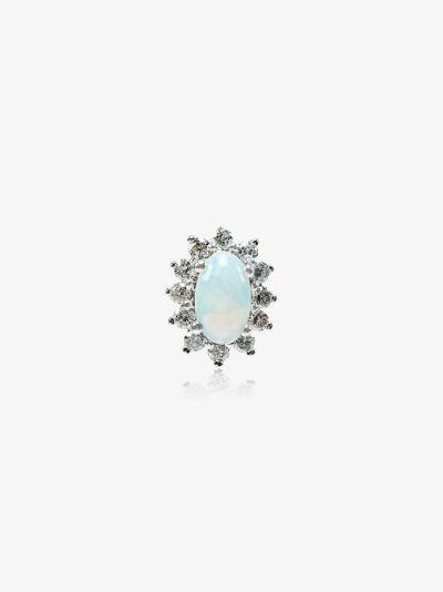 18K White Gold Diamond Opal Earring