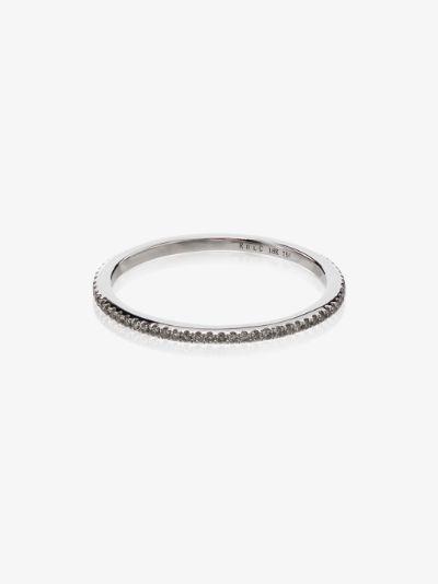 18K yellow gold and white diamond midi ring