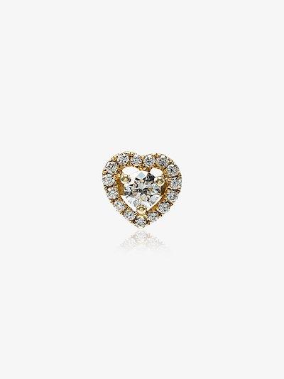 18K yellow gold Heart diamond Stud Earring